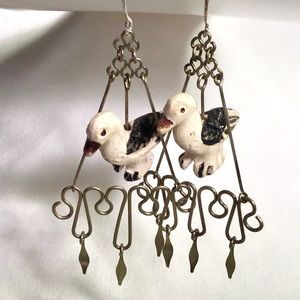 🌺Unique Vintage Silver and Duck Earrings,